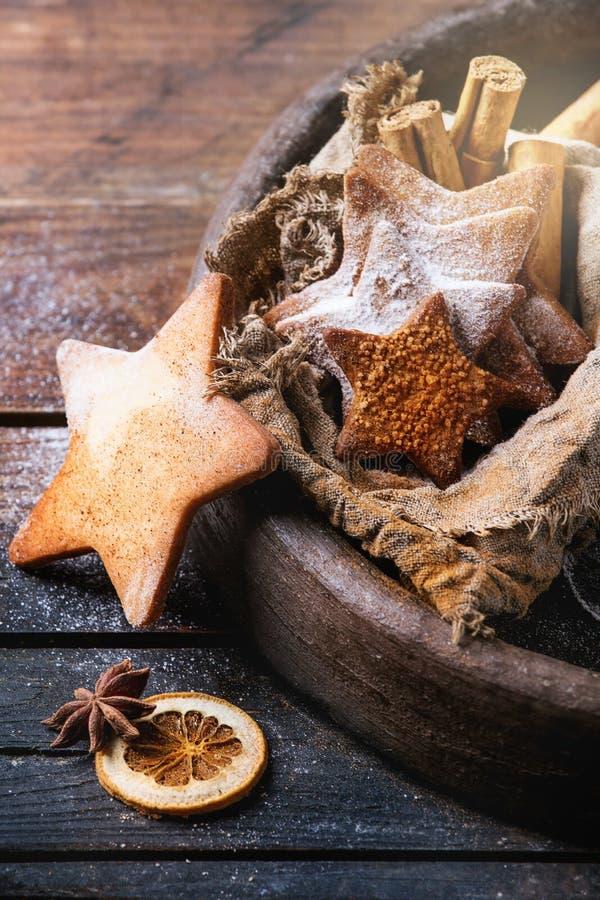 Galletas de azúcar de la forma de la estrella de la torta dulce fotografía de archivo libre de regalías