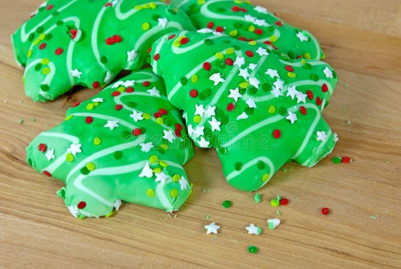 Galletas de azúcar del árbol de navidad imagen de archivo libre de regalías