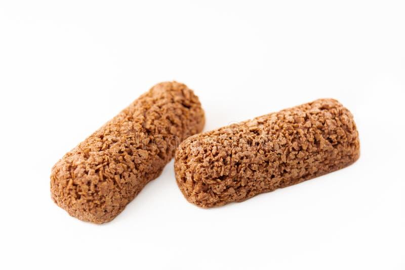 galletas de chocolate cereal de avena fusilado fondo blanco aislado industrias alimentarias imagen de archivo