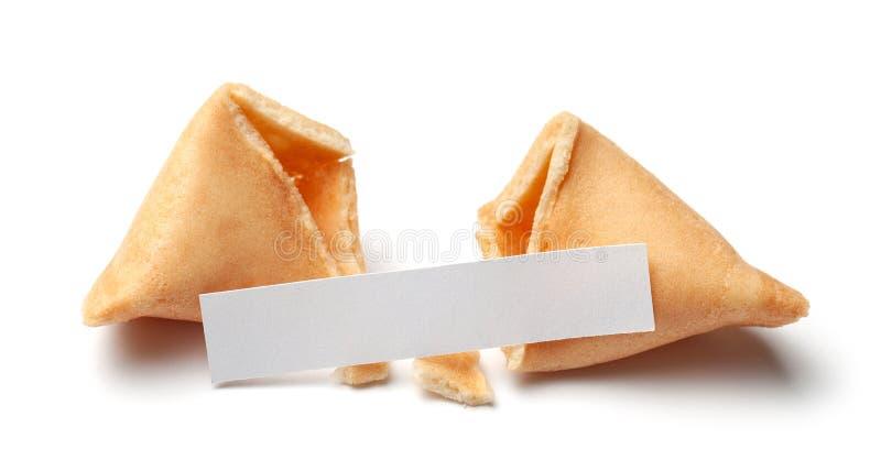 Galletas de fortuna chinas E Aislado en el fondo blanco foto de archivo