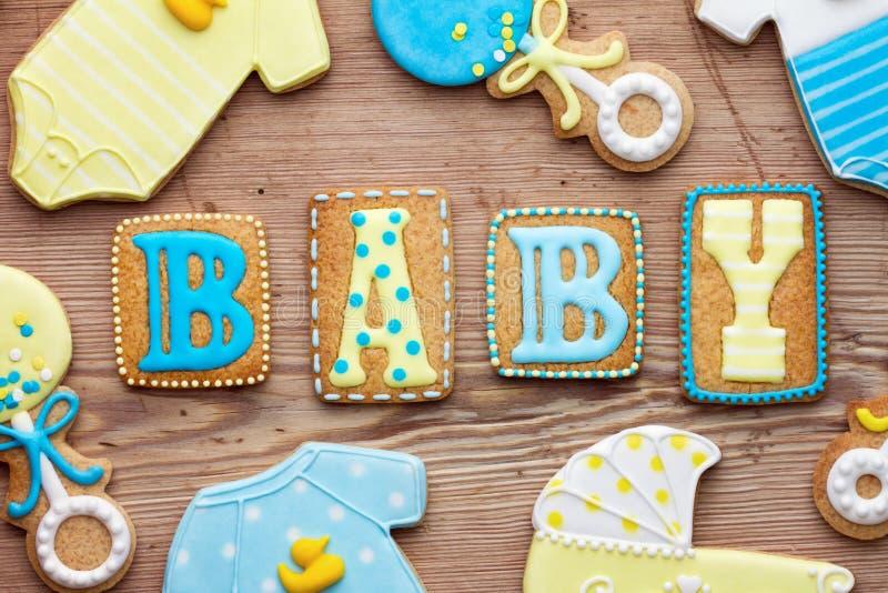 Galletas de la ducha de bebé imagen de archivo libre de regalías