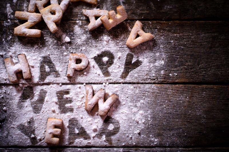 Galletas de la Feliz Año Nuevo foto de archivo