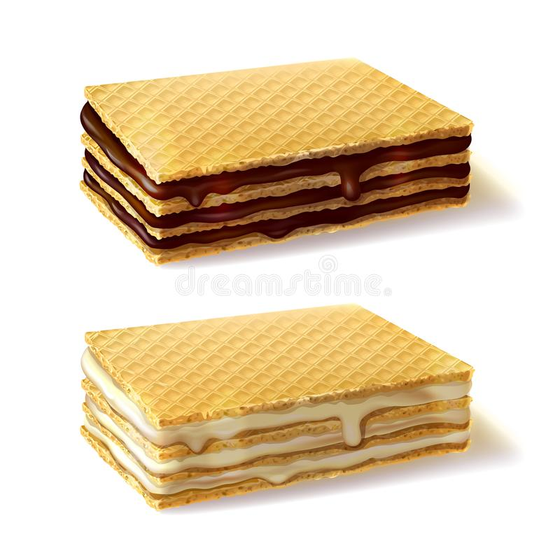 Galletas de la galleta con la crema que llena vector realista stock de ilustración