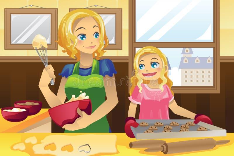 Galletas de la hornada de la hija de la madre stock de ilustración