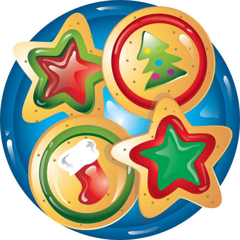 Galletas de la Navidad en una placa ilustración del vector