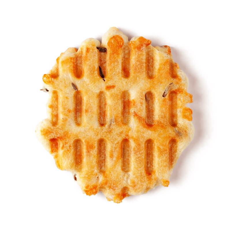 Galletas de la semilla de alcaravea del queso aisladas en el fondo blanco fotos de archivo