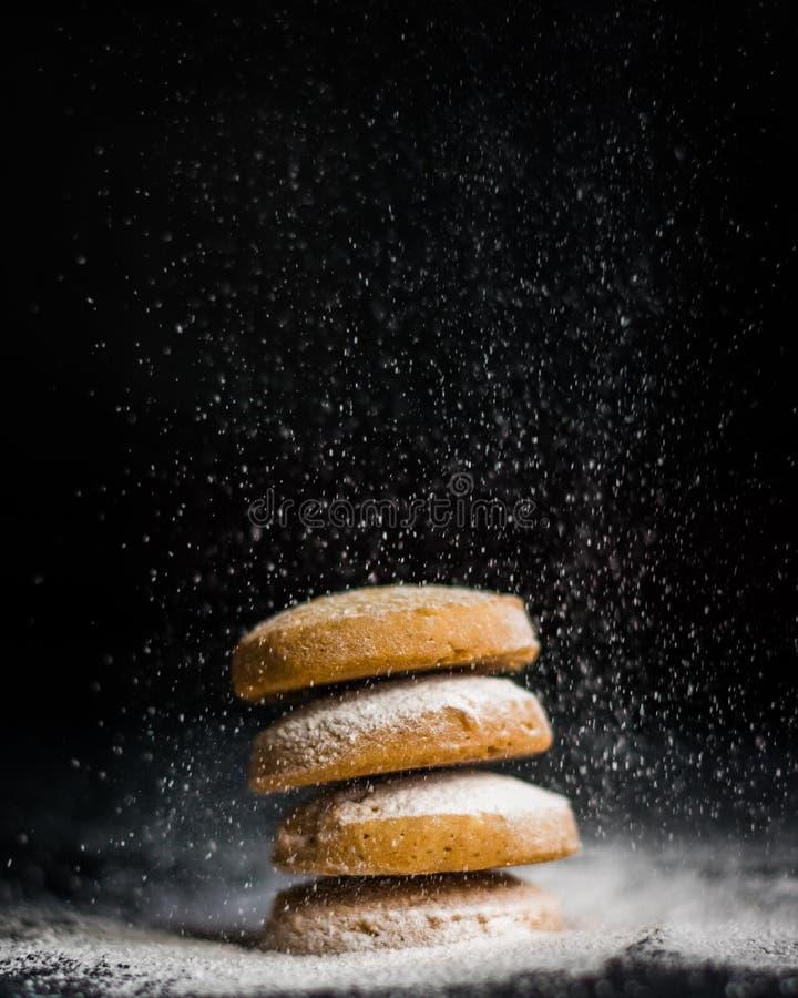 Galletas de mantequilla en un día nevoso imágenes de archivo libres de regalías