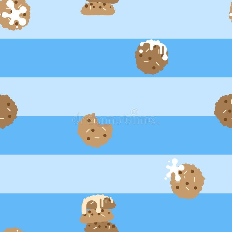 galletas de microprocesadores de chocolate dulces lindas, dulces, coloridas, en colores pastel mínimas inconsútiles de la panad libre illustration