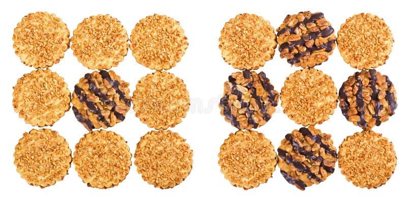 Galletas de viruta del cacahuete y de chocolate imagenes de archivo