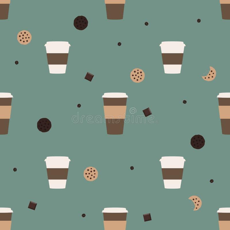 Galletas de viruta del café y de chocolate imagenes de archivo