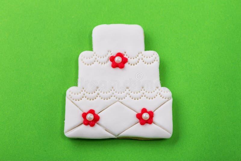Galletas decorativas para la ceremonia que se casa, cierre para arriba imágenes de archivo libres de regalías