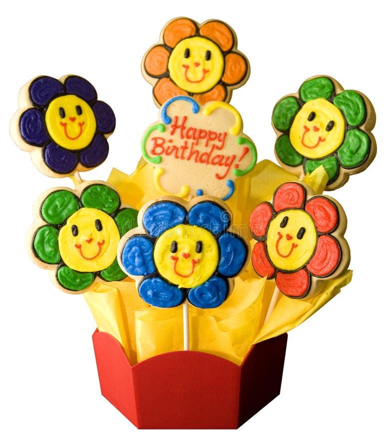 Galletas del feliz cumpleaños imágenes de archivo libres de regalías