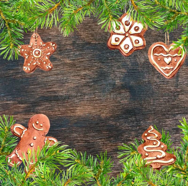 Galletas del jengibre, hombre del jengibre, marco de las ramas de árbol de navidad Tarjeta de Navidad watercolor imagen de archivo libre de regalías