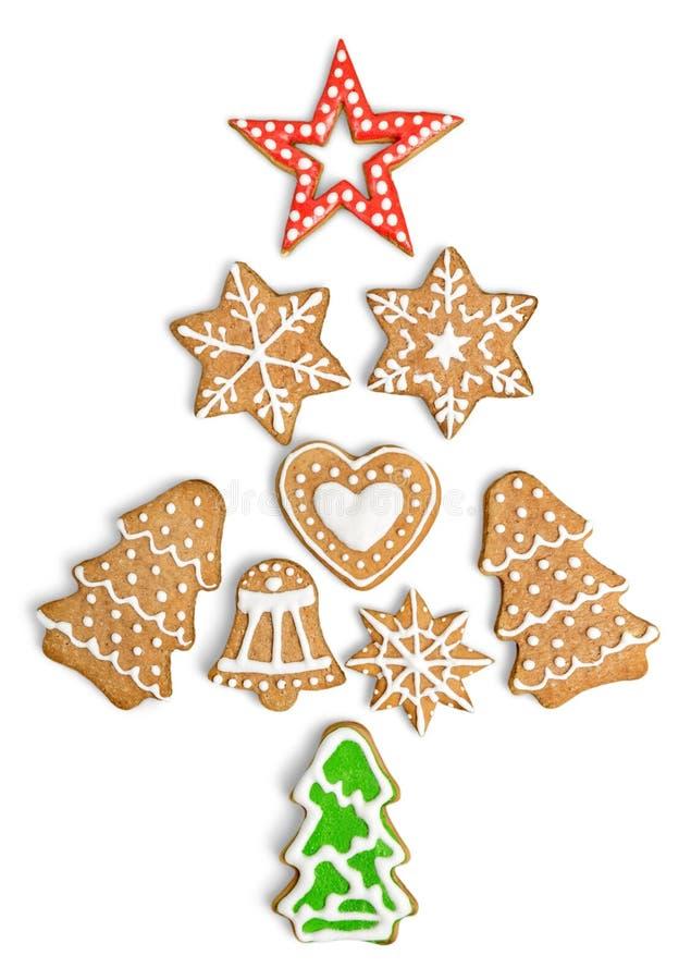 Galletas del jengibre y de la miel de la Navidad encendido fotografía de archivo libre de regalías