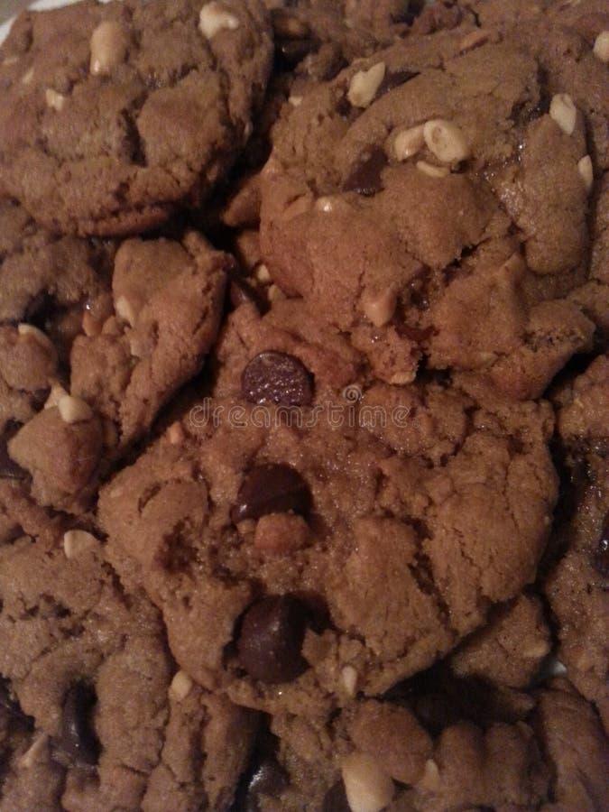 Galletas del microprocesador y del cacahuete de chocolate fotografía de archivo libre de regalías