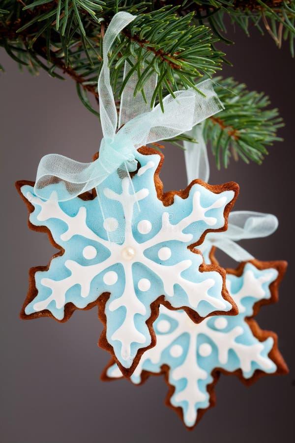 Galletas del pan de jengibre del copo de nieve fotos de archivo libres de regalías