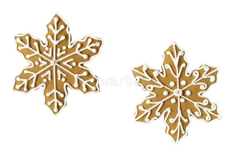 Galletas del pan de jengibre del copo de nieve de la Navidad imágenes de archivo libres de regalías