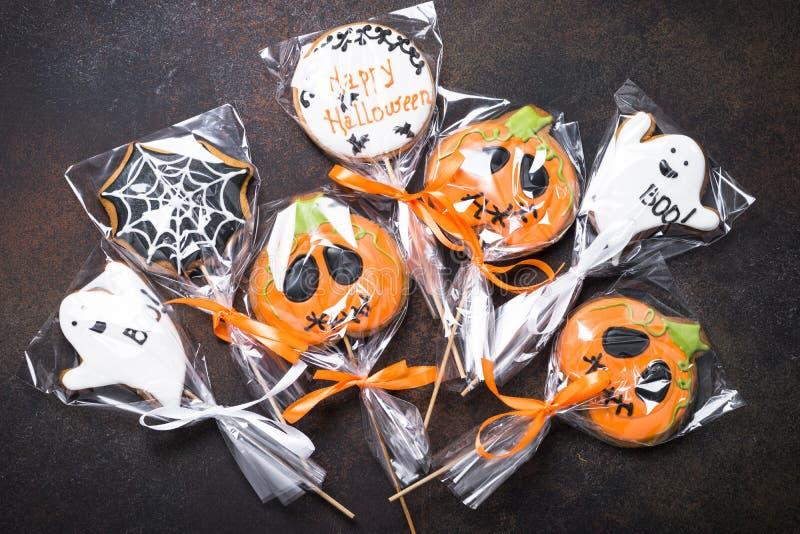 Galletas del pan de jengibre de Halloween fotografía de archivo libre de regalías