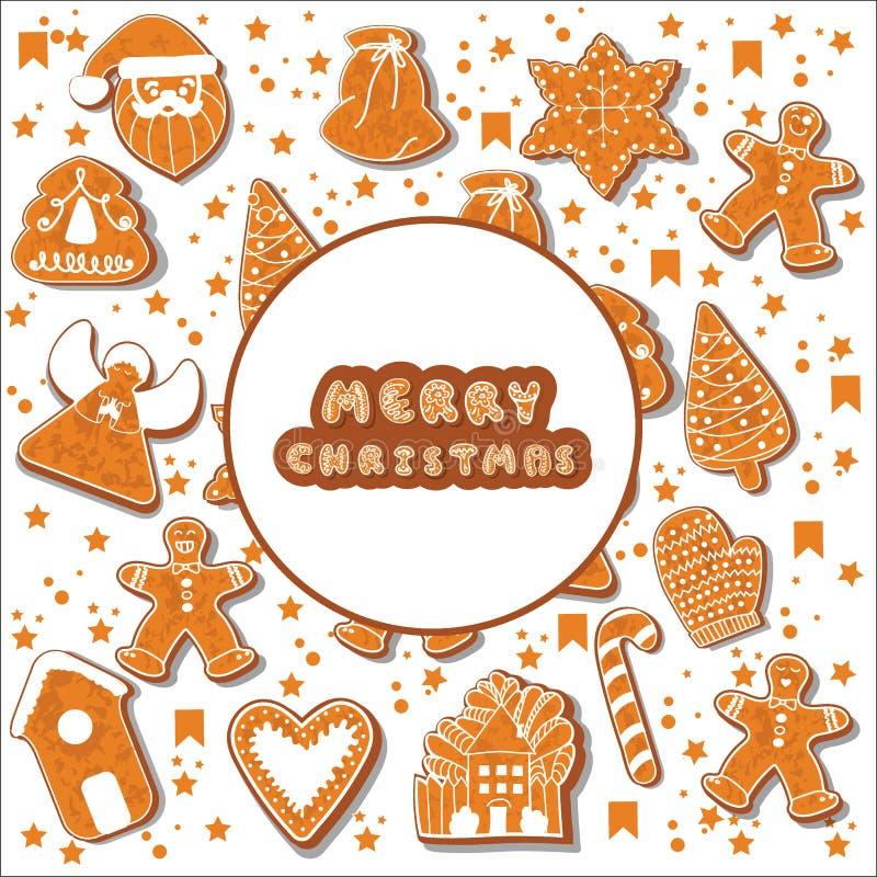 Galletas del pan de jengibre de la Navidad que hacen un marco rectangular Ilustración Cartel feliz de las vacaciones de invierno  ilustración del vector