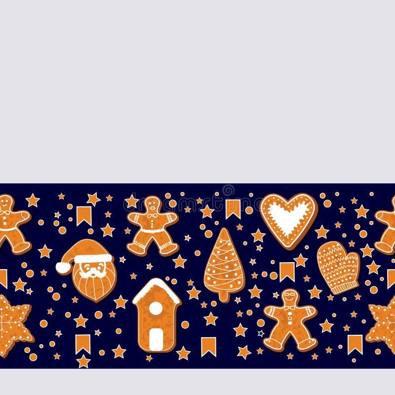 Galletas del pan de jengibre de la Navidad que hacen un marco rectangular Ilustración del vector Cartel feliz de las vacaciones d libre illustration