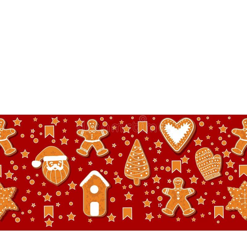 Galletas del pan de jengibre de la Navidad que hacen un marco rectangular Ilustración del vector Cartel feliz de las vacaciones d ilustración del vector