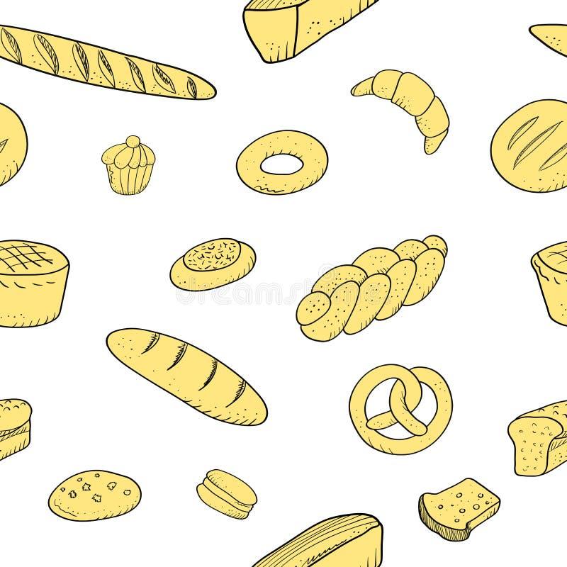 Galletas dibujadas mano inconsútil del baguette de los pasteles del modelo de la panadería stock de ilustración