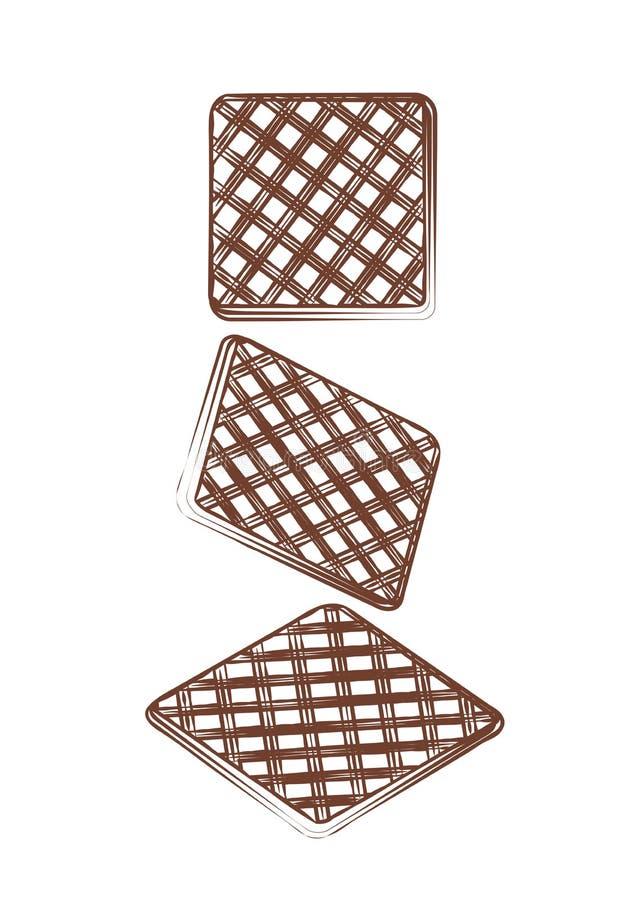 Galletas dulces de Brown Galleta sabrosa de la pastelería de la confitería curruscante de la rebanada del ejemplo del contorno  libre illustration