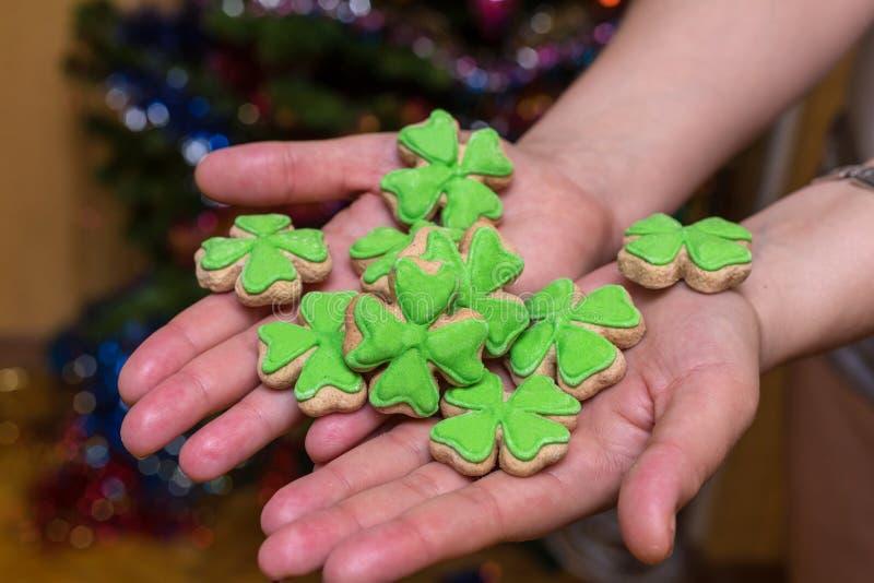 Galletas festivas de los pasteles del día del santo de Patrick cubiertas con el trébol verde de la masilla en la palma sabrosa foto de archivo libre de regalías