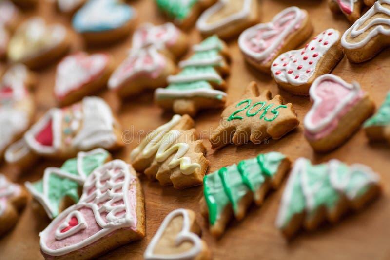 Galletas hechas en casa 2015 de la Navidad foto de archivo libre de regalías