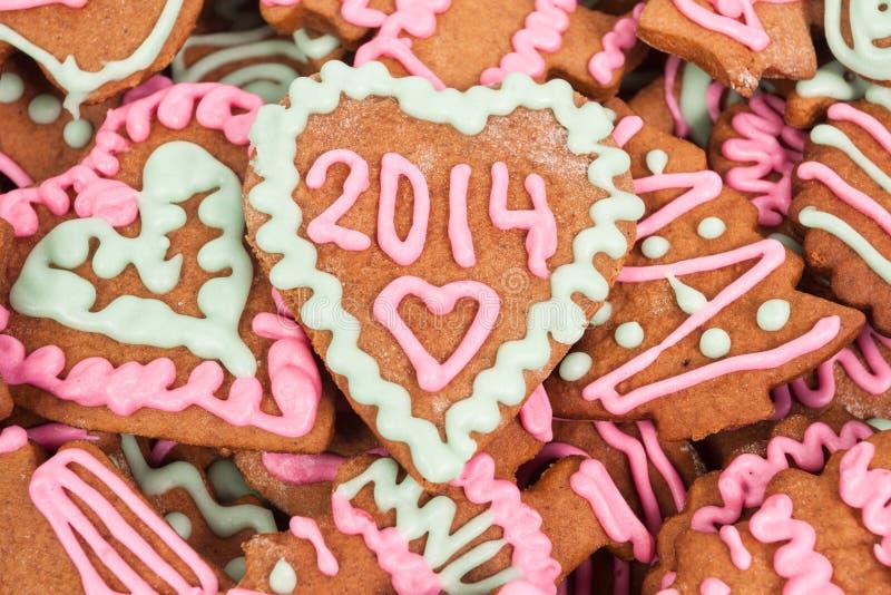 Galleta hecha en casa del Año Nuevo con el número 2014 foto de archivo