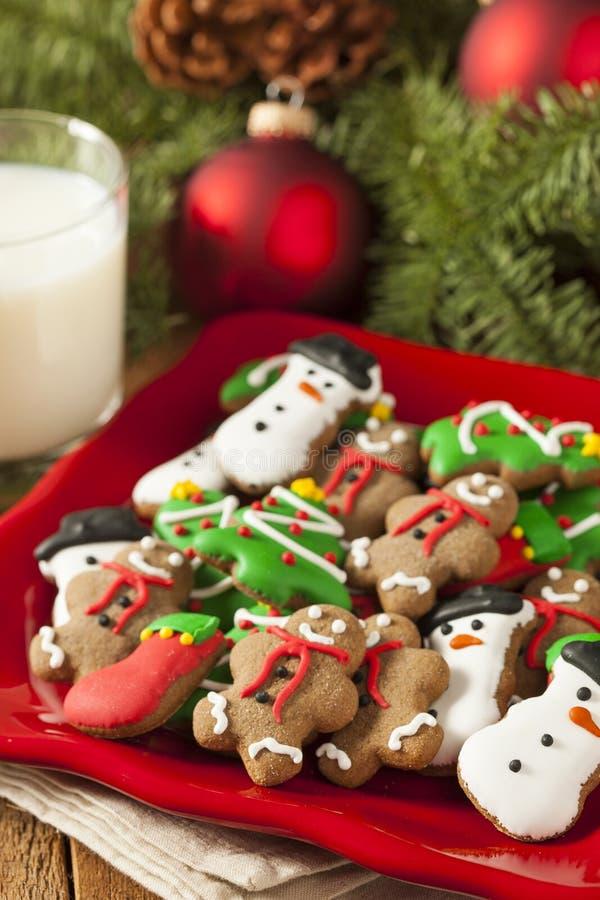 Galletas heladas tradicionales de la Navidad del pan de jengibre imagen de archivo libre de regalías