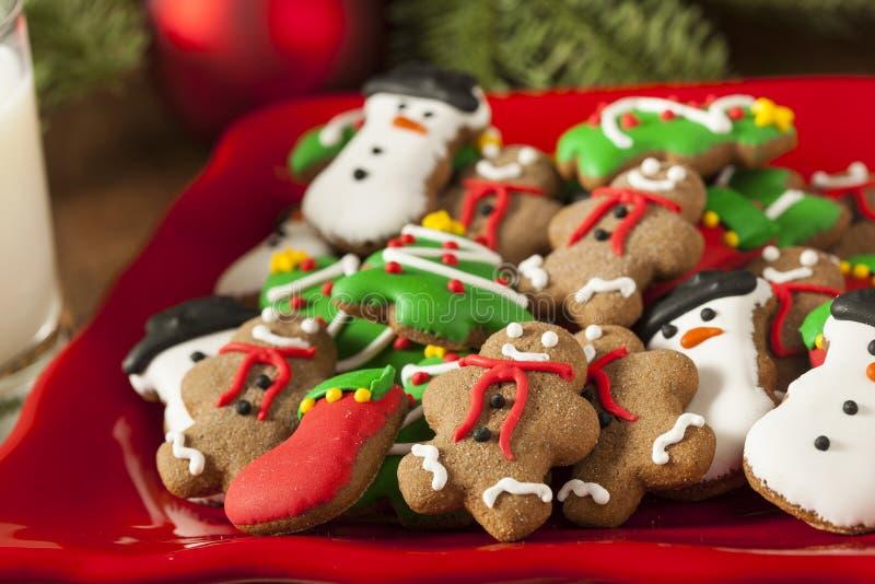 Galletas heladas tradicionales de la Navidad del pan de jengibre foto de archivo