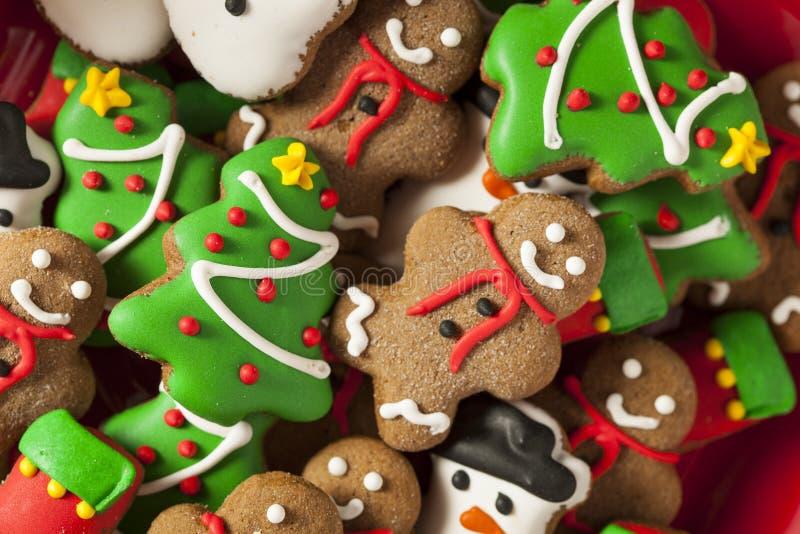 Galletas heladas tradicionales de la Navidad del pan de jengibre foto de archivo libre de regalías