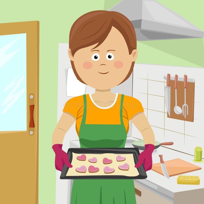 Galletas lindas de la hornada de la mujer joven en cocina libre illustration