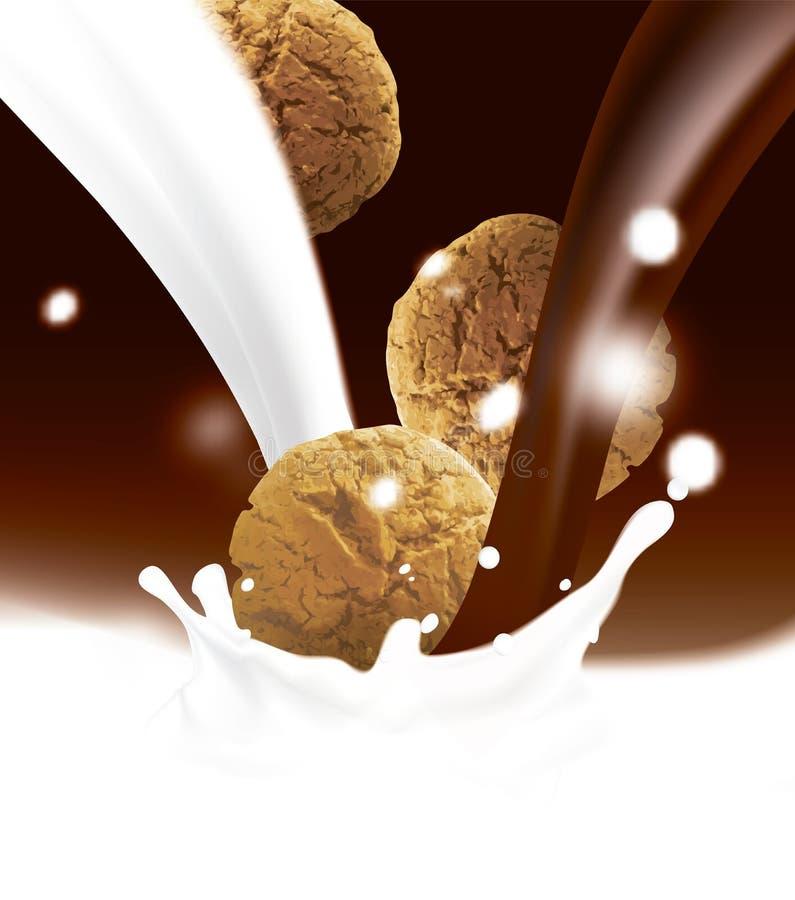 Galletas marrones redondas que caen en la leche y chocolate o cacao de colada blanco Ejemplo realista del vector con empañado stock de ilustración