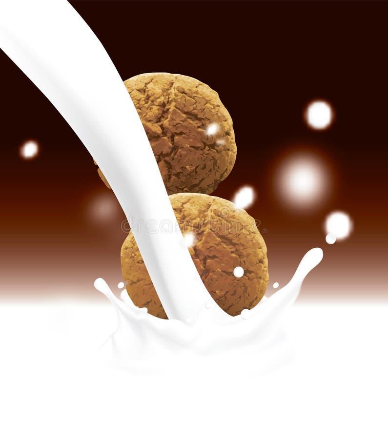 Galletas redondas que caen en la leche de colada Ejemplo realista del vector con el fondo borroso del color del chocolate con ilustración del vector