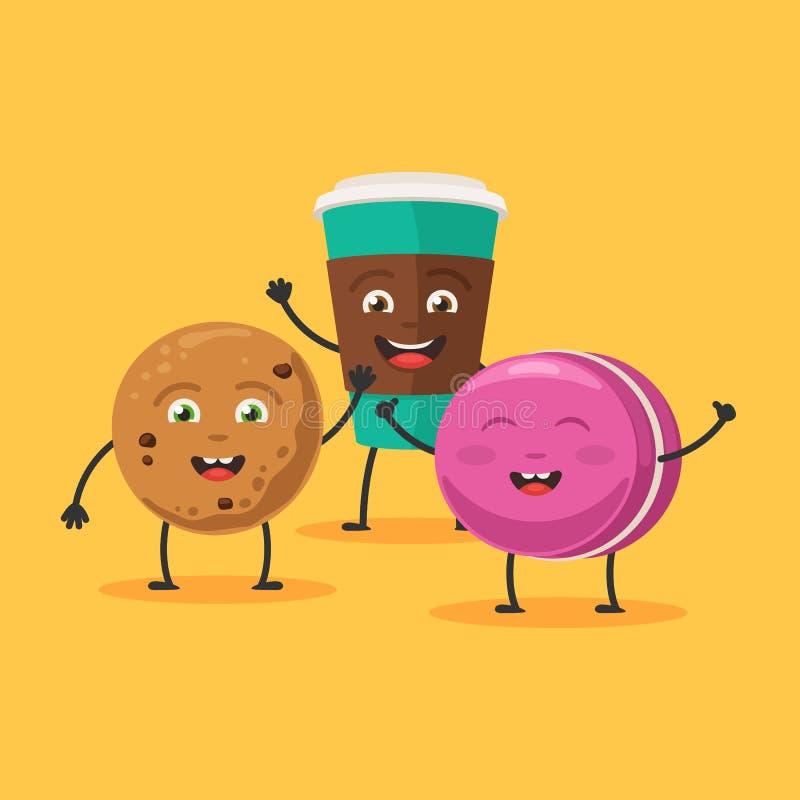 Galletas, taza y macaron lindos de los caracteres libre illustration