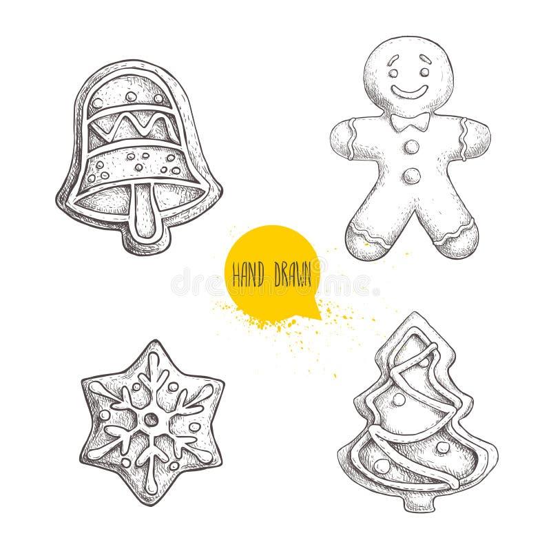 Galletas tradicionales dibujadas mano de la Navidad del bosquejo fijadas Mano Bell hombres de pan de jengibre, copo de nieve y ár ilustración del vector