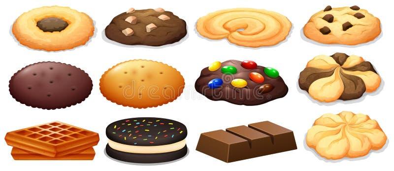 Galletas y barra de chocolate stock de ilustración