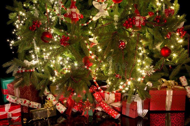 Galletas y regalos debajo del árbol de navidad imagen de archivo libre de regalías