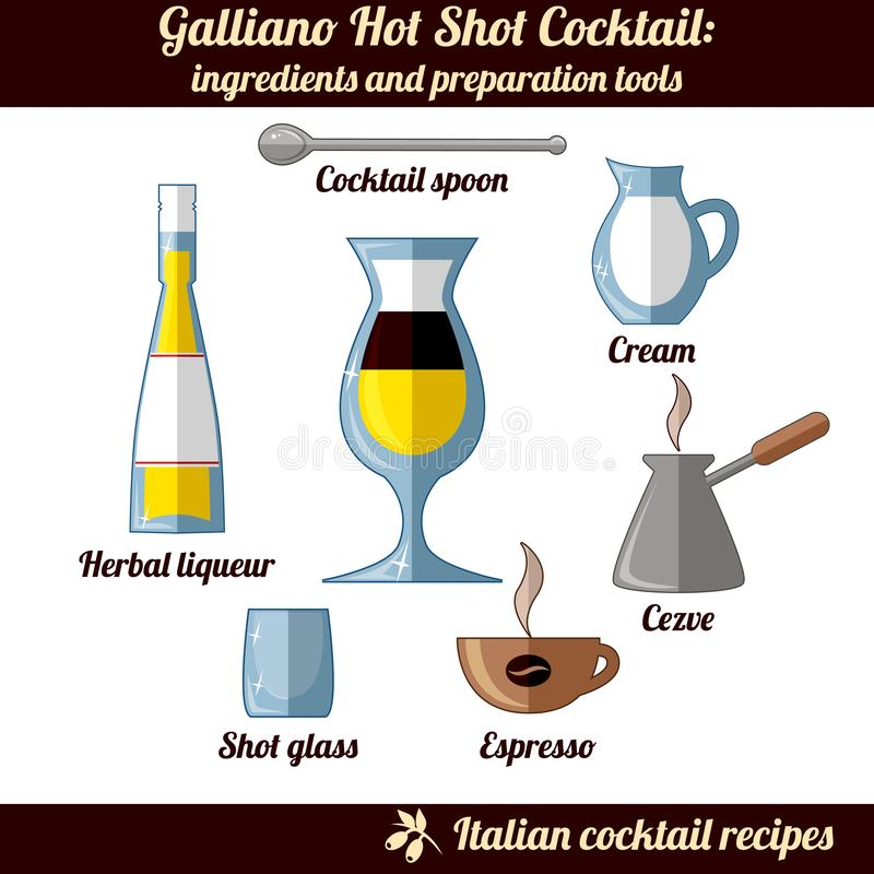 Galliano Hot Shot cocktail. Infographic set of isolated elements on white background. Ingredients and preporation tools. Italian Cocktail Collection. Vector stock illustration