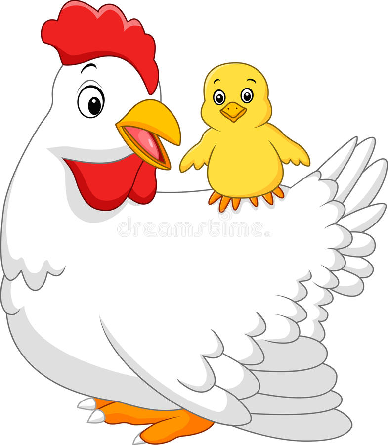 Gallina adulta con su polluelo libre illustration