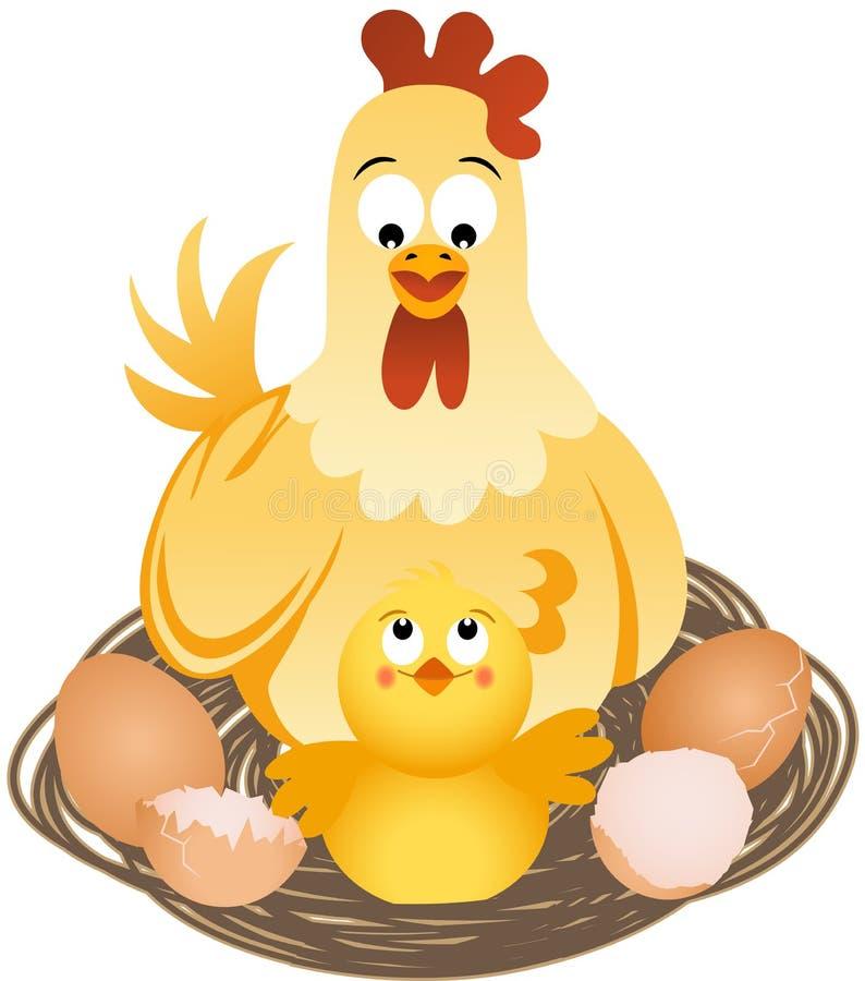 Gallina con los polluelos y los huevos en jerarquía ilustración del vector
