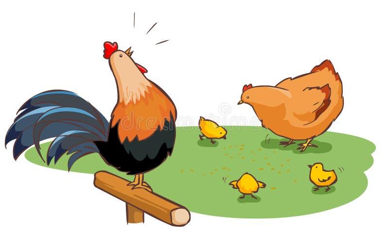 Gallina del gallo y familia de los polluelos en patio trasero ilustración del vector