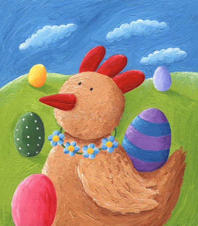 Gallina del jengibre y huevos de Pascua ilustración del vector