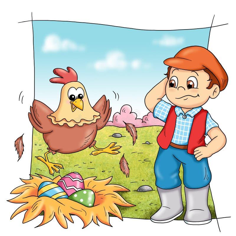 Gallina en granja stock de ilustración