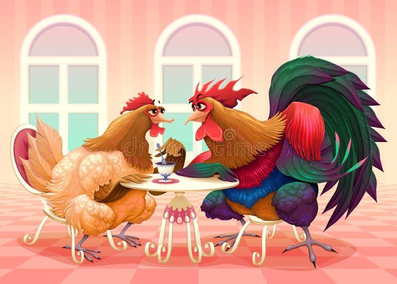 Gallina y gallo en un café ilustración del vector