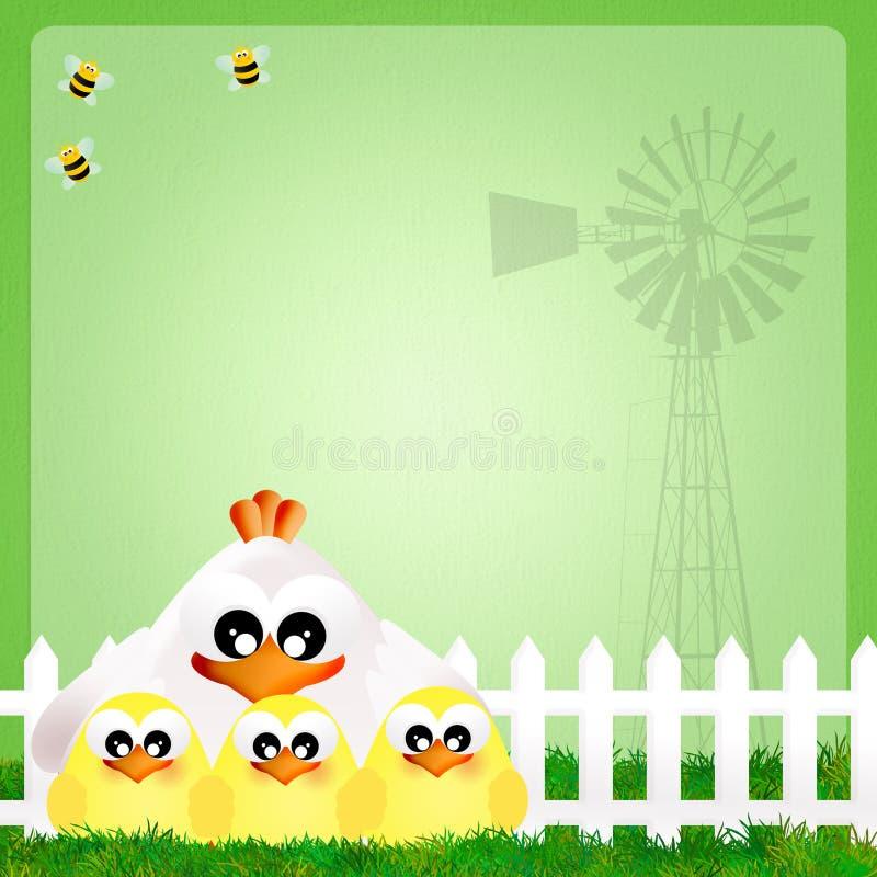 Gallina y polluelos ilustración del vector