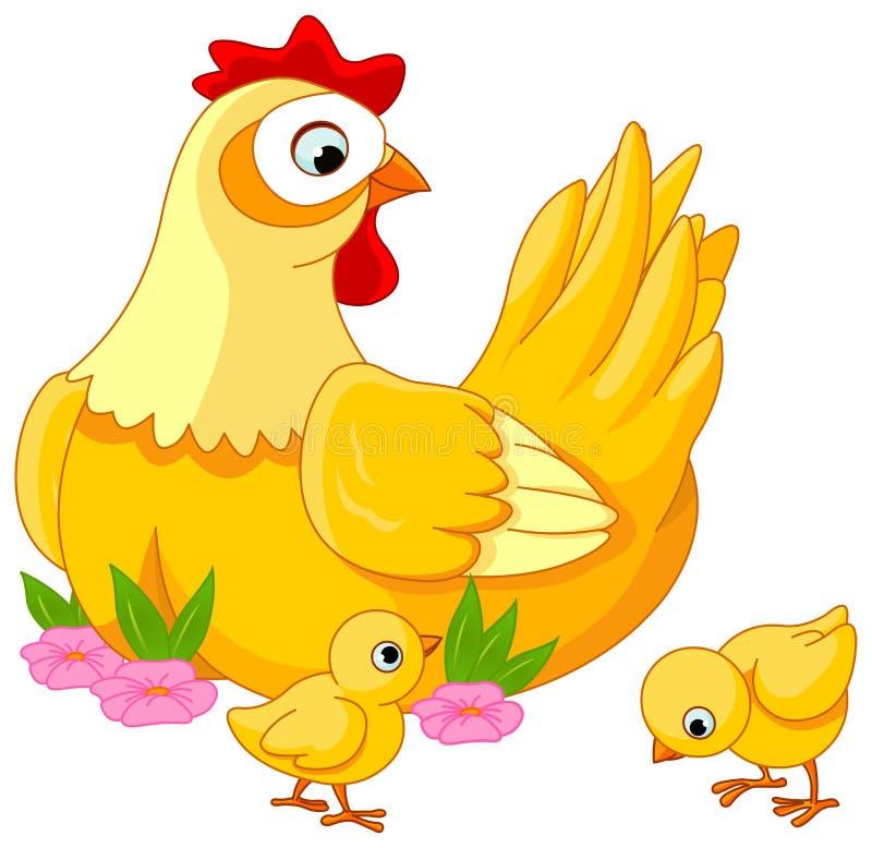 Gallina y polluelos stock de ilustración