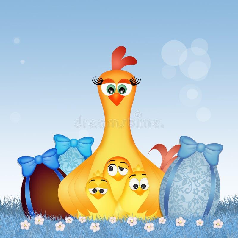 Gallina y polluelos con los huevos de Pascua stock de ilustración